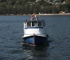 Church Point ferry: the timber Elvina. This vessel has a long, colourful history. The Elvina is old, but reliable and well loved by the community.