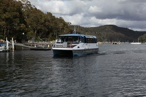 Church Point ferry: the newest in the fleet, the L. Duck. The L. Duck is named for the much loved ferry driver, the late Lenny Duck. This is a state of the art vessel - stable, comfortable and environmentally friendly.