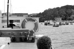 The Curlew approaches Tennis Court Wharf, 1984