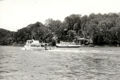 Ferry wars - Curlew passes the Promote, Pittwater 1970's