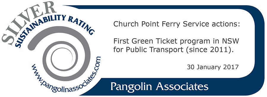 Church Point Ferry Service's badge of sustainability (Pangolin Associates)