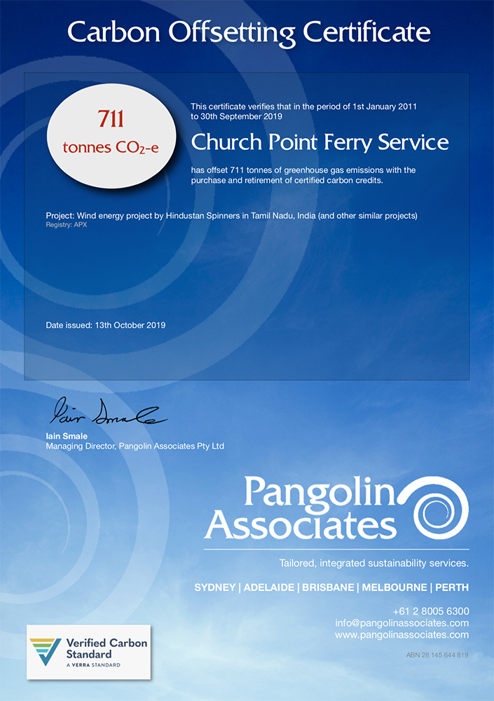 Certificate: Church Point Ferry Service carbon credits to date.